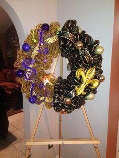My saints and LSU wreath I made