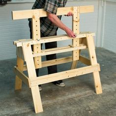 Woodworking Rustic Saturday Morning Workshop: How To Build An Adjustable Sawhorse.Woodworking Rustic Saturday Morning Workshop: How To Build An Adjustable Sawhorse Easy Woodworking Projects, Popular Woodworking, Woodworking Jigs, Diy Wood Projects, Woodworking Workshop, Youtube Woodworking, Woodworking Classes, Green Woodworking, Woodworking Furniture Plans