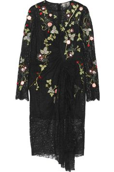 Black lace Concealed hook and zip fastening at back 100% nylon; lining: 100% silk Dry clean Imported