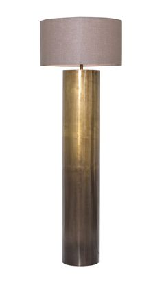 Brass Ombre Floor Lamp Industrial, Contemporary, Linen, Metal, Floor Lamp by English Country Home Rustic Floor Lamps, Unique Floor Lamps, Industrial Floor Lamps, Brass Floor Lamp, Contemporary Floor Lamps, Metal Floor, Room Lamp, Trends, Lamp Design