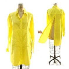 80s Avant Garde Button Up Shirt / Neon Yellow / by nickiefrye, $39.00