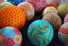 """tsmskimonodrome: """"Asylum-Art : """"A Huge Collection of Embroidered silk Spheres by grandmother in Japan. THESE Intricate and Extraordinarily beautiful Embroidered Silk balls Are a form of. Folk Embroidery, Japanese Embroidery, Embroidery Designs, Floral Embroidery, Broderie Bargello, Cadeau Parents, Sculpture Textile, Textile Art, Ancient Japanese Art"""