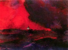 "aizobnomragym: "" Emil Nolde ""Dark Red Sea"" """
