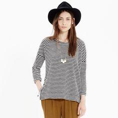 Side-Button Sweatshirt in Stripe