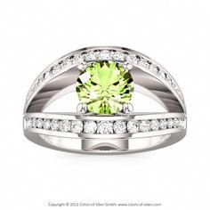 Engagement Ring #peridot #diamond #silver
