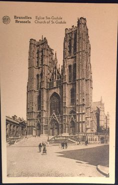 Vintage postcard featuring the Church of St-Gudule, Brussels, Bruxelles Eglise Ste-Gudule by LafayetteAntiques on Etsy