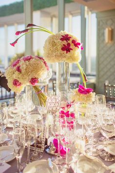 Spectacular Miami Wedding by Binaryfilps Photography, Flowers by Vivian Colls, Yes I Do Planners, Elegant Temptations Cakes White and purple #centerpieces