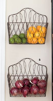 baskets on the wall for fruit and veg.