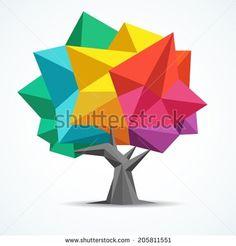 Colorful tree. Geometric polygon design