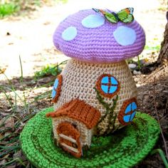 These adorable Crochet Toadstool Fairy Houses are FREE Patterns. You can add Crochet Gnomes or a Butterfly Decoration. The tiny door opens and closes!