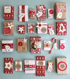 Gorgeous handmade advent calendar - tiny wrapped boxes with little trinkets inside.