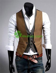 mobile site-Fashion plaid faux two piece male slim vest male tank tops vest undershirt beer for men singlet Casual Suit, Casual Tops, Men Casual, Smart Casual, Casual Attire, Casual Party, Work Casual, Mode Man, Mens Suit Vest