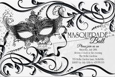 Masquerade Party, Masquerade Invitation, Mardi Gras Party by BellaLuElla on Etsy https://www.etsy.com/listing/152377468/masquerade-party-masquerade-invitation