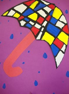 Artsonia Art Museum :: Artwork by Ashlyn1703  The paintings that Piet Mondrian is most famous for are rectangles of white and primary colors, dissected by black lines. Created an umbrella inspired by him using only black paint for the lines and then the primary colors, red, blue, and yellow to fill in only certain shapes.