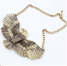 Gold Alloy Vintage Eagle Choker Statement Bib Necklaces Fashion by AsterJewelry on Etsy https://www.etsy.com/listing/200142479/gold-alloy-vintage-eagle-choker