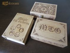 Ales the woodcarver: Magic the Gathering card boxes - Commander decks