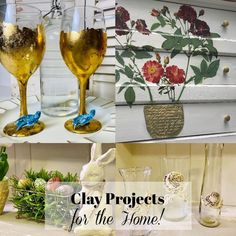 Get ideas and inspiration on using Air Dry Clay on your next home decor project. My Favorite Clay Projects - DIY Home Decor! Home Crafts, Diy Home Decor, Iron Orchid Designs, Easter Season, Create And Craft, Wine Charms, Air Dry Clay, Clay Projects, Diy Painting