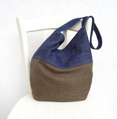 Denim and burlap bag summer jeans slouch bag hobo handbag Burlap, Slouch Bags, Summer Jeans, Recycled Denim, Denim Bag, Day Bag, Market Bag, Shopper Bag, Hobo Handbags