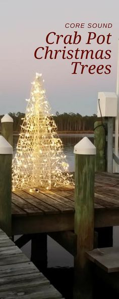 By the seaside! Our Crab Pot Trees look beautiful reflecting off the water. Potted Christmas Trees, Potted Trees, Coastal Christmas Decor, Christmas Decorations, Kitchen Wallpaper, Outdoor Decorations, Garden Features, Light Up, Seaside