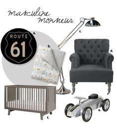 Monochrome nursery theme for baby boys styled with dark greys, soft white linen and chrome accessories.