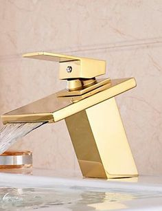 Promotion Waterfall Bathroom Golden Tap Single Handle Vanity Sink Mixer Tap Deck Mount Simple stylish luxurious classic and durable design >>> You can find out more details at the link of the image.  This link participates in Amazon Service LLC Associates Program, a program designed to let participant earn advertising fees by advertising and linking to Amazon.com.