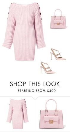 """""""Pink Sweater Dress"""" by elshaymac ❤ liked on Polyvore featuring Spencer Vladimir, MICHAEL Michael Kors and Valentino"""