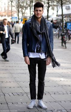 Blue leather jacket. We'd throw that on. Street Style #spsf