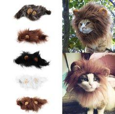 Pet Cat Dog Head Wig Emulation Lion Hair Mane Ears Costume Muffler Scarf HGPP010 #Unbranded