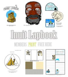 OurEskimo Lapbookis available free to ournewsletter subscribers.This is a large file and includes a Cover page, Notebooking pages,Arctic Animal Flap Books, Inukshuk Prin…