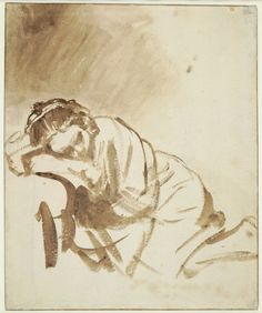 Rembrandt, A Young Woman sleeping (Hendrickje Stoffels), about 1654. Brush and brown wash, with white bodycolour; ruled framing lines in pen and brown ink, 24.6 x 20.3 cm The British Museum, London 1895,0915.1279 © The Trustees of The British Museum