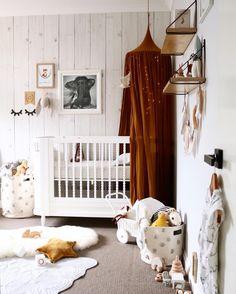The perfect nursery styling featuring our gold canopy! Dreamy! #numero74 #nurserydecor #kidsdecor #kidsroom