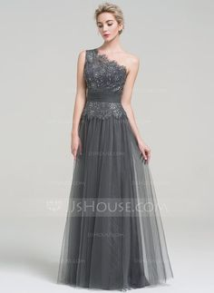 [US$ 119.99] A-Line/Princess One-Shoulder Floor-Length Tulle Evening Dress With Ruffle Beading Sequins