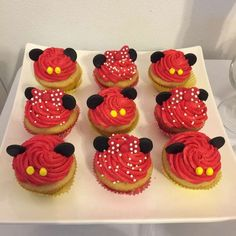 Mickey Mouse rainbow birthday party cupcakes! See more party planning ideas at CatchMyParty.com!: