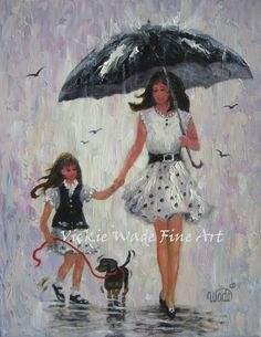 Rain Girls Art Print mother and daughter by VickieWadeFineArt