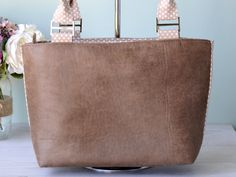 Eco leather tote bag, shoulder bag - distressed look composite leather with beige dotty polka dot lining and zip closure. by HandbagsandHome on Etsy