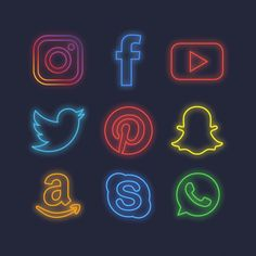 Neon social media icons Free Vector