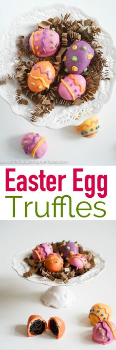 These Easter Egg Truffles are just adorable! Only 3 ingredients and great to make with the kids for Easter dessert!