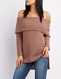 GrayShaker Stitch Off-The-Shoulder Pullover Sweater