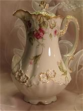 ♥•✿•♥•✿ڿڰۣ•♥•✿•♥ ♥   Elegant French Victorian Roses CHOCOLATE COCOA POT Antique Limoges France Chocoliatiere HAND DECORATED TEA ROSES Fine Vintage   Heirloom China Painting Art Studio Décalcomania Floral Design Rare Pot w   Figural Raised Relief Gracious Shape   Handle ca 1900  ♥•✿•♥•✿ڿڰۣ•♥•✿•♥ ♥