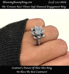 The Small Crimson Rose Flower Diamond Engagement Ring – Antique Style Engagement Rings, Floral Engagement Ring, Engagement Ring Cuts, Designer Engagement Rings, Pretty Rings, Beautiful Rings, Best Diamond Rings, Latest Jewellery Trends, Earring Trends
