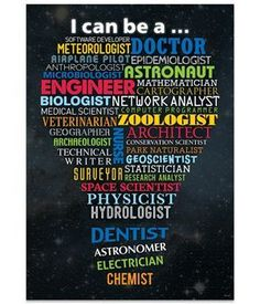 """I can be a…."" Through science, technology and math, many careers are possible. Here are just a few: software developer, doctor, meteorologist, astronaut, dentist, architect, veterinarian, airplane pilot and biologist. This poster shows many more to inspire your students."