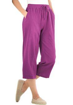 6fe292c5648 Petite crinkle cotton capri pants