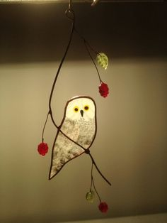Snowy Owl Stained Glass Suncatcher by BirdsAndBugs1 on Etsy, $25.00