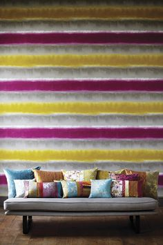 Shop for Wallpaper at Style Library: Demeter Stripe by Harlequin. A statement wallpaper with watercolour stripes. View Wallpaper, Striped Wallpaper, Fabric Wallpaper, Pattern Wallpaper, Wallpaper Ideas, Harlequin Wallpaper, Osborne And Little, Wallpaper Companies, Cole And Son