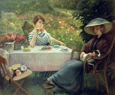 Tea Time by Jacques Jourdan - Tea Time Painting - Tea Time Fine Art Prints and Posters for Sale