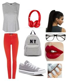 """""""Untitled #29"""" by angelice234 on Polyvore featuring J Brand, Topshop, Converse, Beats by Dr. Dre, Joshua's, women's clothing, women, female, woman and misses"""
