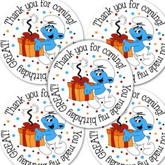 20  2 Inch round Smurfs Birthday sticker labels party by bafoodle, $6.00