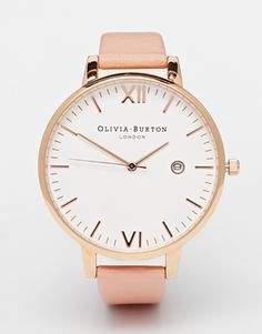 Olivia Burton Timeless Pink Leather Strap Oversize Dial Watch