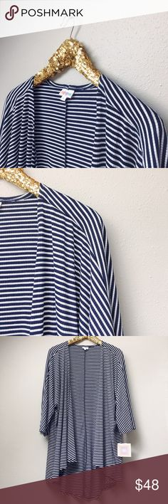LuLaRoe Lindsay Kimono LuLaRoe's Lindsay kimono is the perfect layering piece to add to any outfit! This Lindsay is lightweight and thinly ribbed with thin navy and white stripes.  ✅Offers On Items Over $10 ✅Bundle & Save Trades Off-Posh Modeling  Shop with ease; I'm a Suggested User. LuLaRoe Sweaters Cardigans