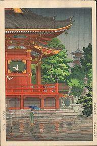 Tsuchiya Koitsu Asakusa Temple In Rain  www.asianartswest.com